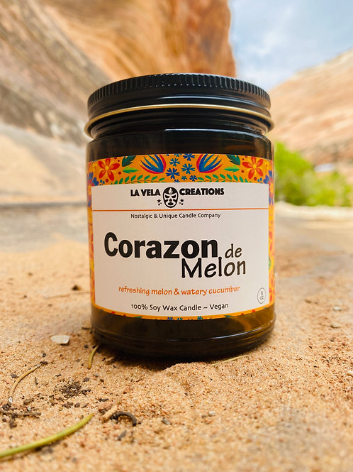 Corazon de Melon ~ Sweet Melon & Cucumber Scented Soy Wax Candle ~8 oz