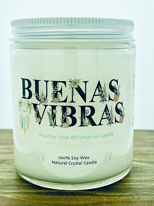 BuenasVibras ~ Positive Vibe Affirmation Crystal Candle~ Earth, Sea, Ozone Scent