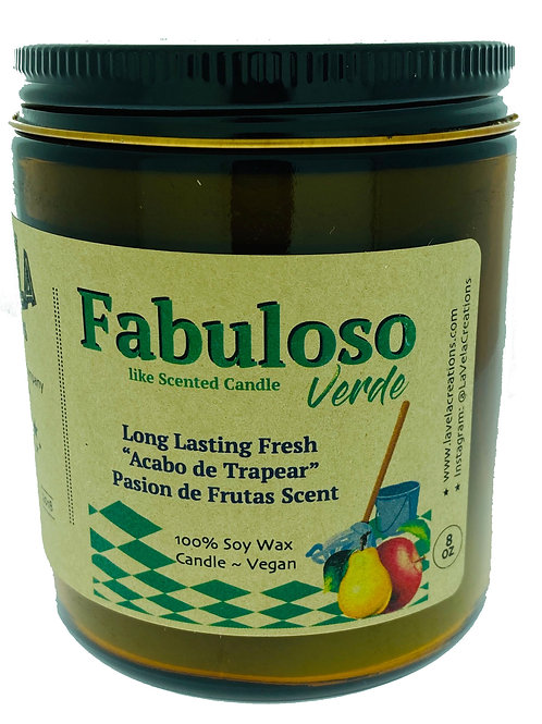 Fabuloso Green Passion of Fruits Scented 100% Soy Candle ~ 8oz