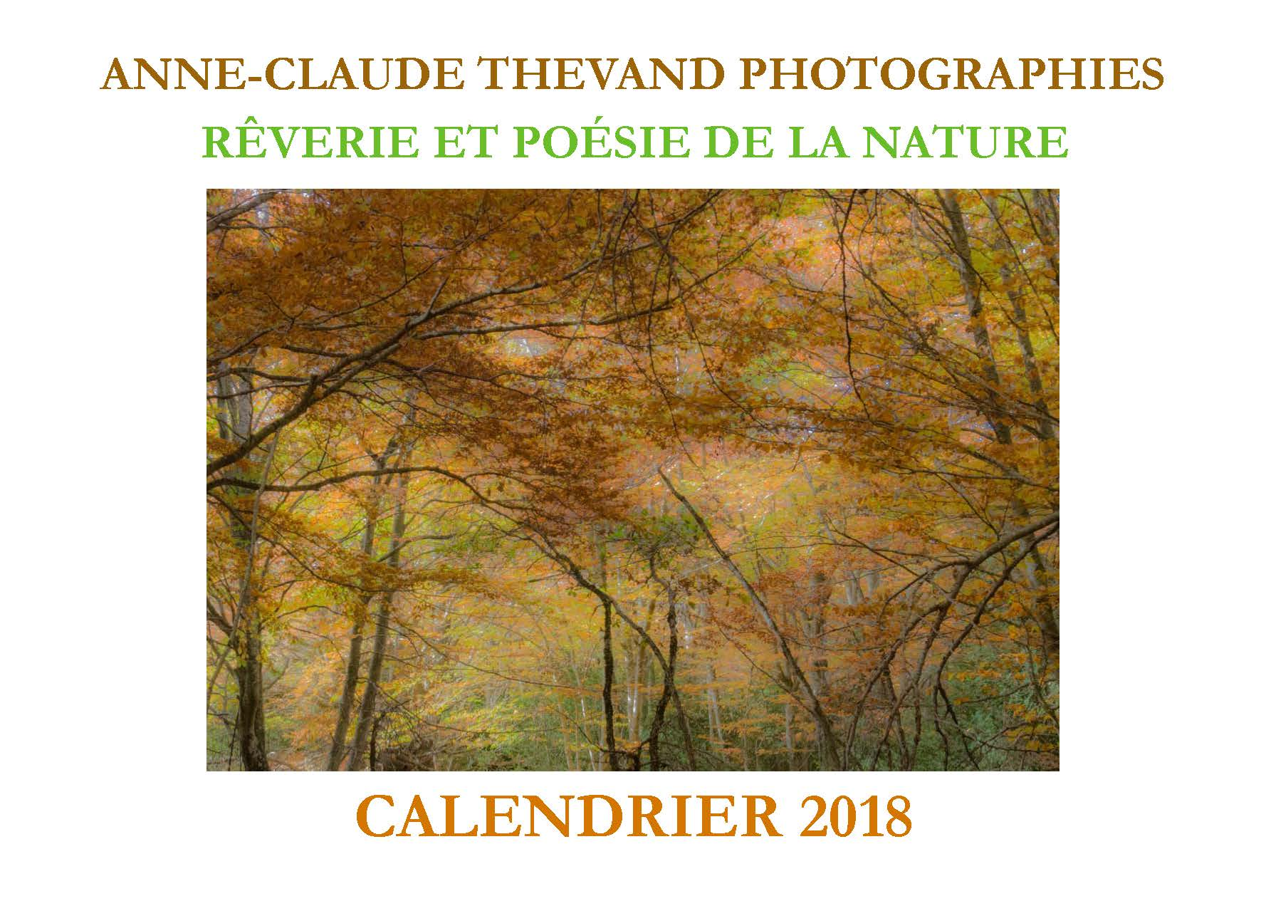 Calendrier 2018 Anne-Claude THEVAND