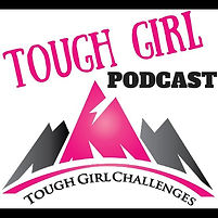 The Tough Girl Podcast logo - pink and black mountains with tough girl challenges written underneath