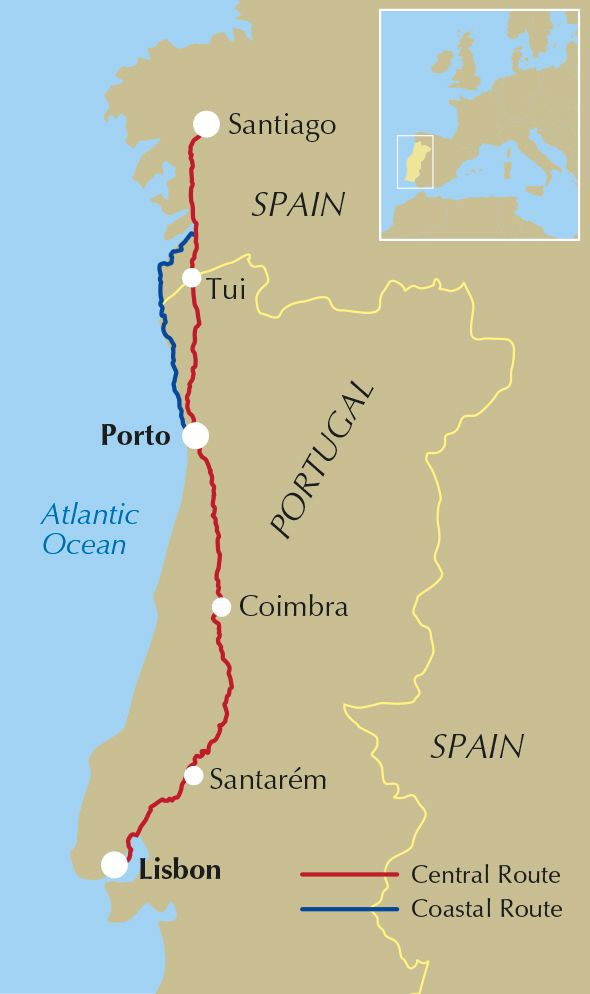 Map showing the Camino route from Lisbon to Santiago