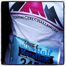 Sarah wearing a Tough Girl Challenges t-shirt