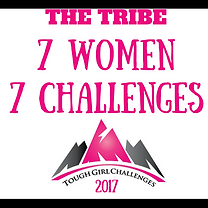 The Tribe, 7 women, 7 challenges, in 2017  written in pink writing.