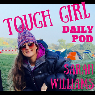 Daily Podcast cover, Sarah in a purple bobble hat and big black down jacket. long hair, big smile