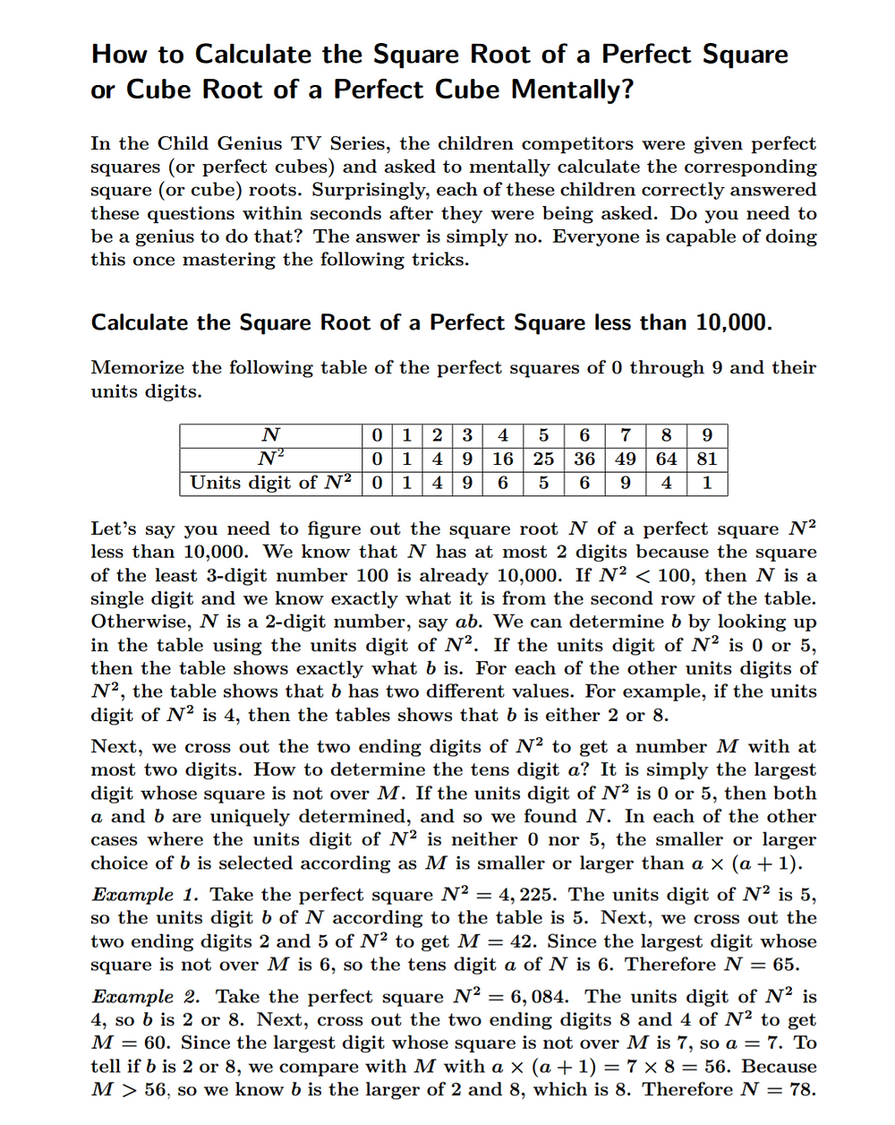 How to Calculate the Square Root of a Perfect Square or Cube Root of a Perfect Cube Mentally?