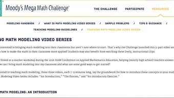 Teaching Math Modeling Video Series