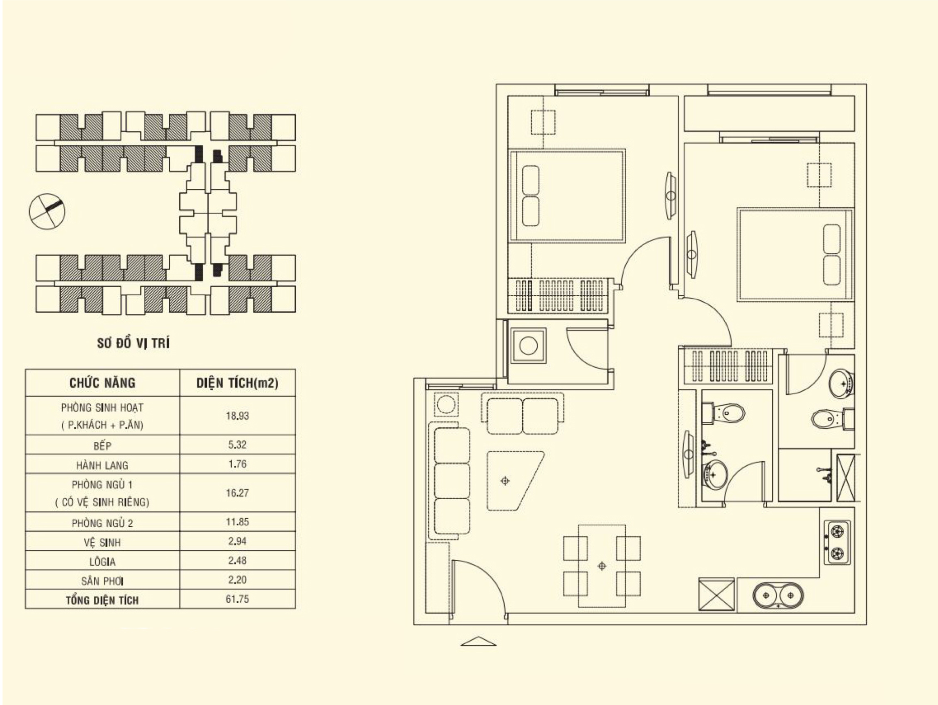 Thiết kế căn 61.75 m2