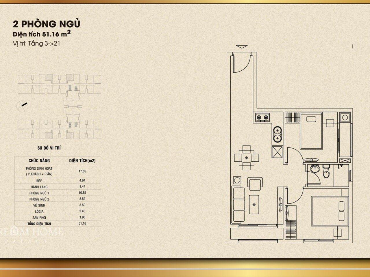 Thiết kế căn hộ 51 m2