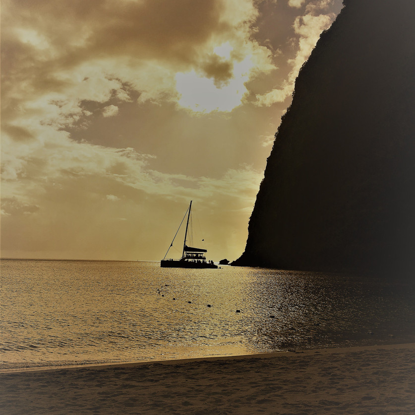 Sunset on Pitons Bay.