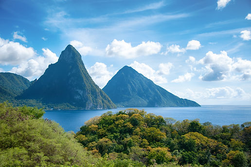 Sugar Beach—a pristine strip of sand situated between Gros Piton and Petit Piton on St. Lucia's southwest side.