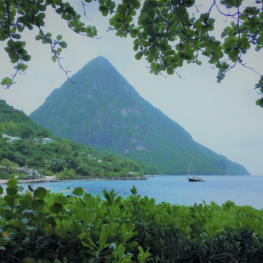 View of Gros Piton from the Beach Bar.