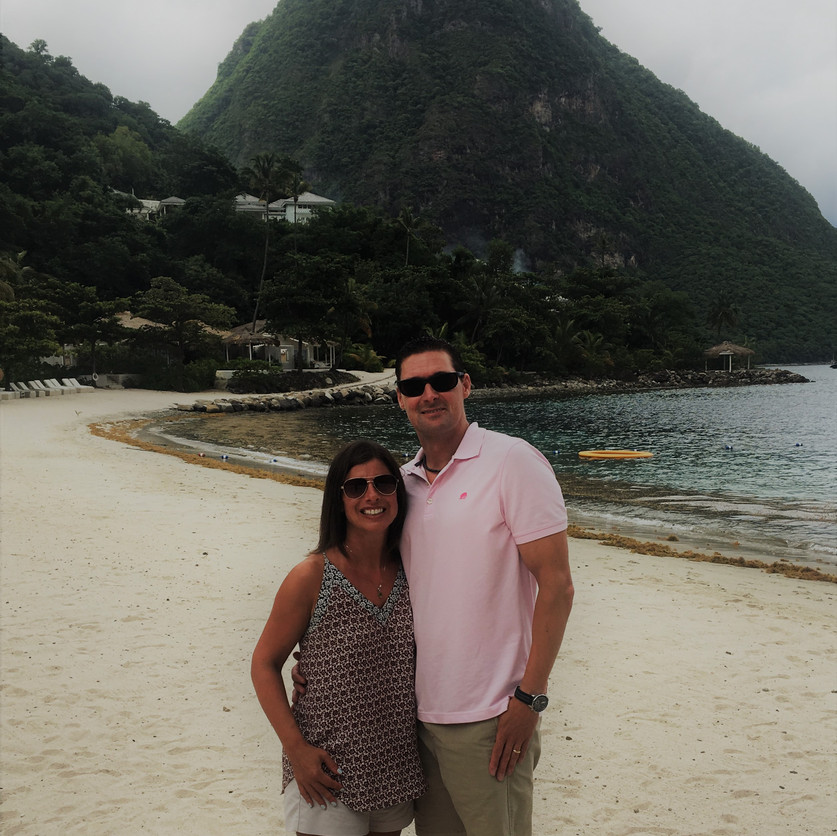 Charlie & Amy on Sugar Beach with Gros Piton in the Background