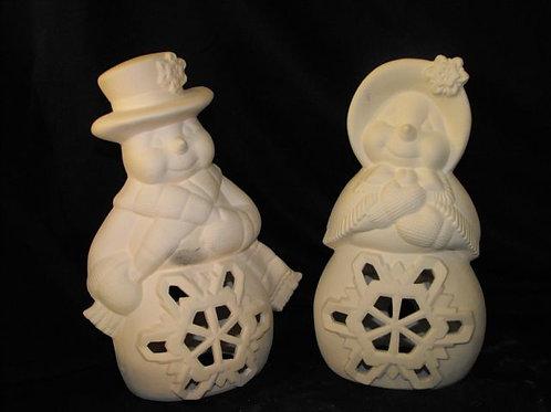 Set of Mr. & Mrs. Snowman