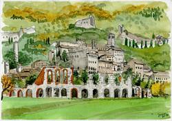 Panoramica con Anfiteatro romano
