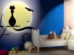 Decorazione gatto luna pippistrello