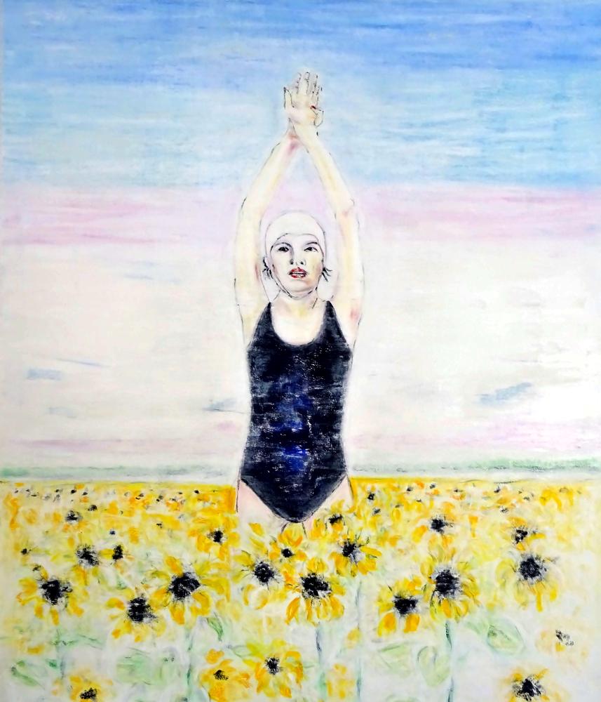 Sonnenblumen_schwimmerin_ÖL_auf_Leinwand