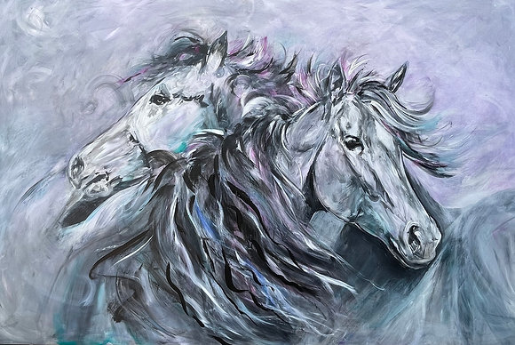 """'Free and Wild' One off original painting 48"""" x 32"""""""