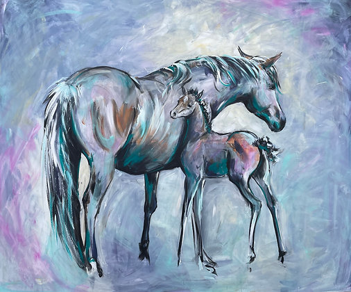"""'Me and Mum' One off original painting 47"""" x 39"""""""