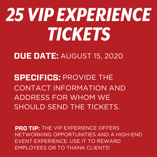 25 VIP Experience Tickets