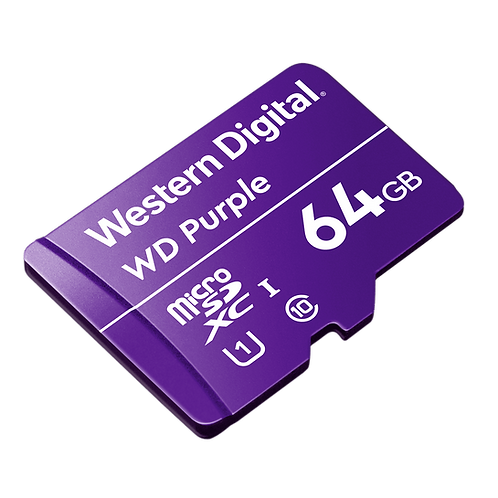 WESTER DIGITAL PURPLE MICRO SD 64GB CLASE 10