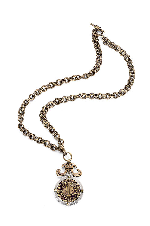 French Kande  provence chain necklace with DU TERRE medallion