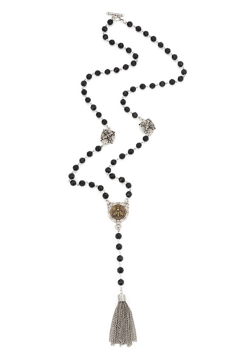 French Kande necklace with black onyx