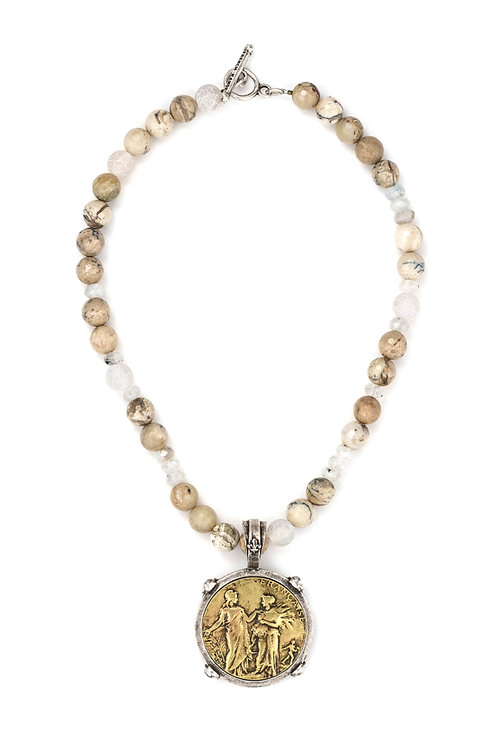 French Kande necklace with  bee stack pendant