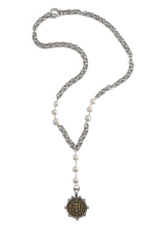 French Kande necklace with pearls and Fabre Medallion