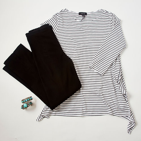 Comfy USA white top with black stripes