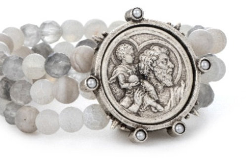 French Kande triple strand bracelet with St Christopher medallion