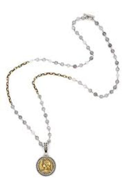 French Kande necklace with swarovski,cloudy quartz and Chemins medallion