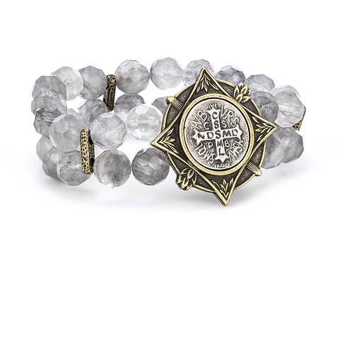 French Kande two strand bracelet with Saint Benedict medallion