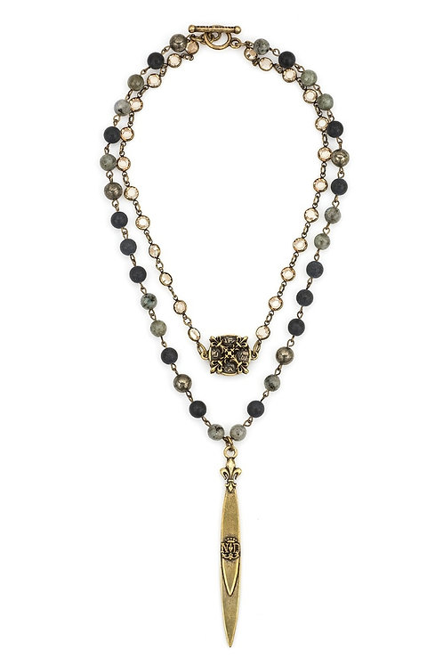 French Kande double strand necklace with brass wire, swarovski, and two pendants
