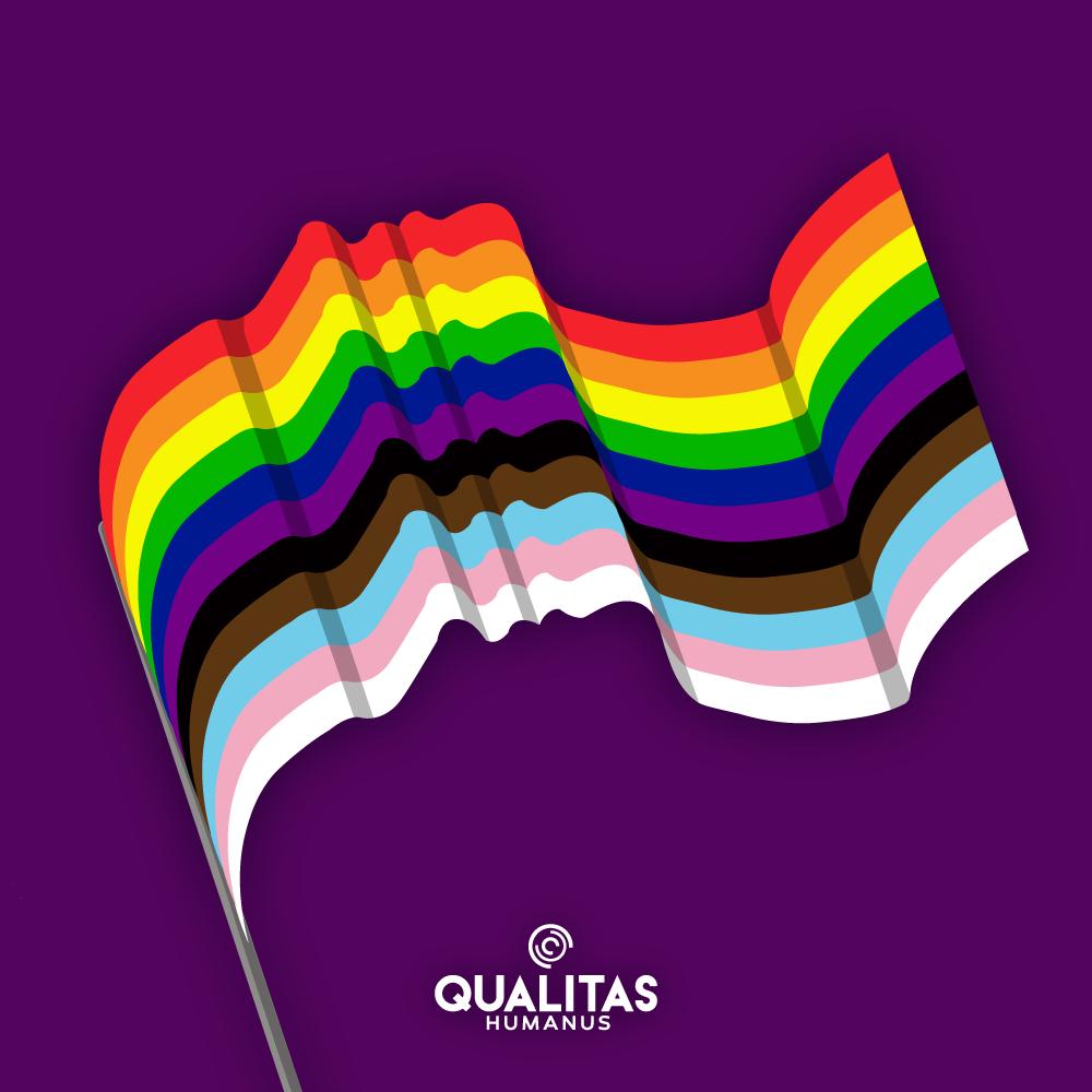 Mãos formando coração com as cores LGBTQIA+