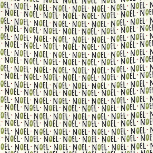 Noel script on Cream   The Christmas Card Collection   Moda