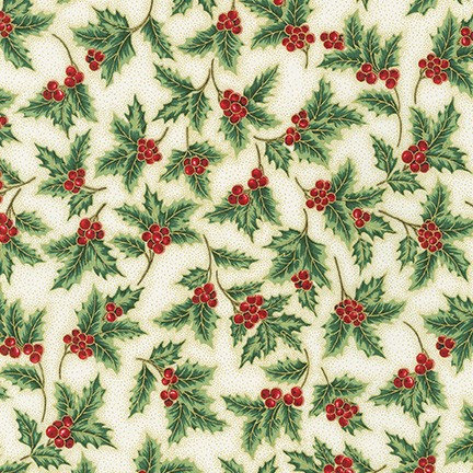 Holly Leaves on Ivory | Holiday Flourish Collection | Robert Kaufman