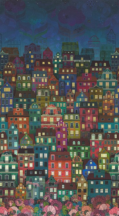 Townscape in Night | Happy Place by Wishwell | Robert Kaufman