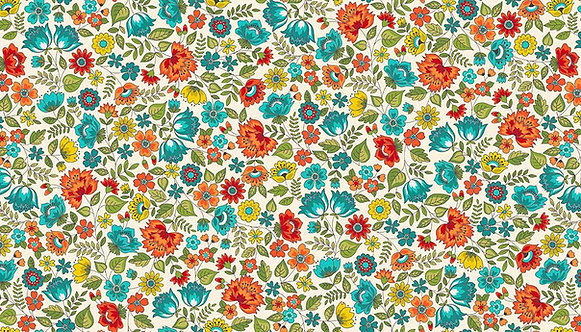 Chintz in Turquoise | Bloom Collection | Makower UK