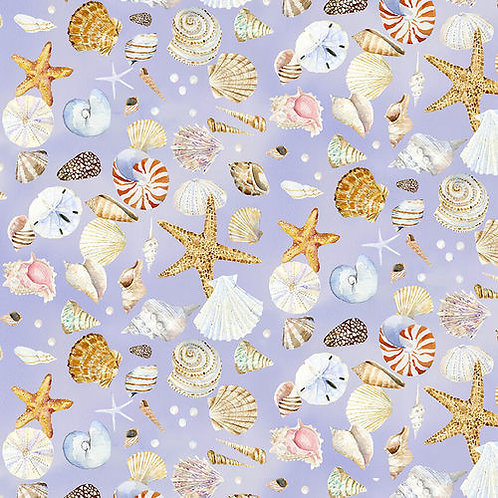 Shells on Lavender | Coastal Paradise Collection | Henry Glass & Co