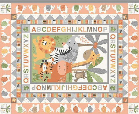 Jungle Friends Cot Quilt Panel  | Jungle Friends | Makower UK