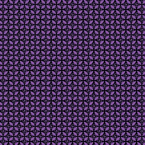 Curly Buds in Purple | Pansy Noir | Kanvas Studios by Benartex