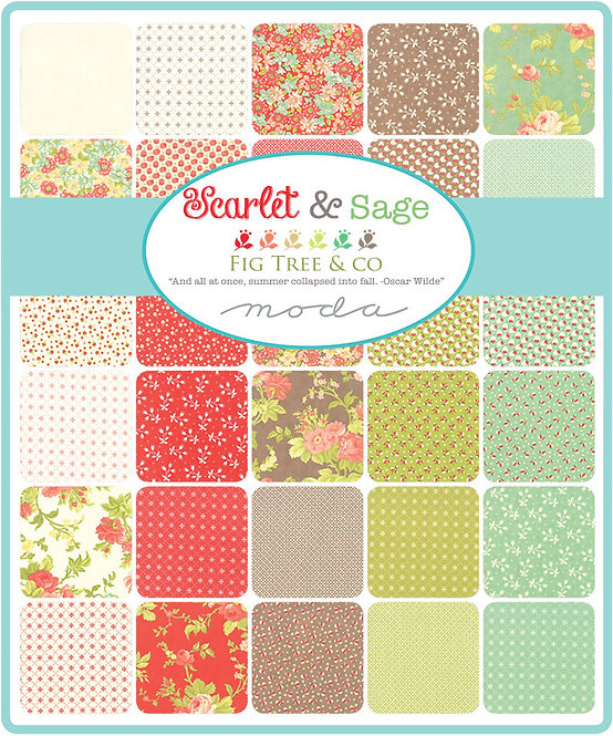 "Scarlet and Sage - 5"" Charm Pack by Moda Fabrics"