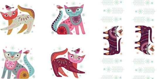 Colourful Cats on White Panel | Stitch Cats | Clothworks