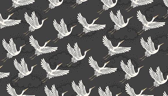 Cranes on Grey | Kimono Collection | Makower UK