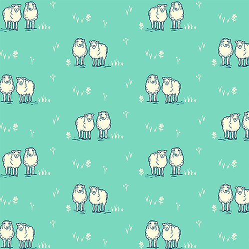 Little Sheep on Turquoise | Homestead Life | Windham Fabrics