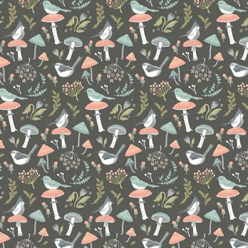 Songbirds on Grey | Woodland Songbirds Collection  | Nutex Fabrics