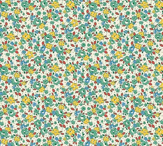 Green/Multi Mini Flowers | Washington Street Vintage 30's Florals | P&B Textile