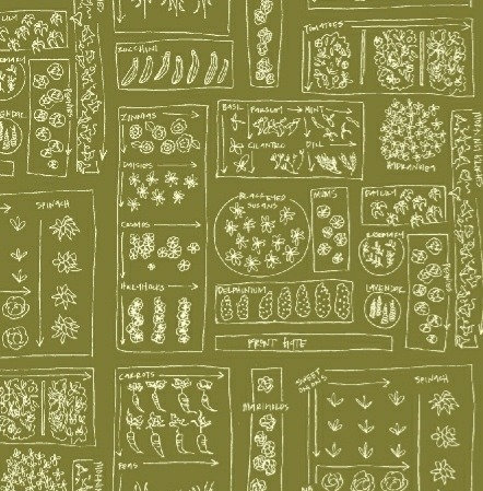 Garden Plot in Moss | Mazy Collection | Windham Fabrics