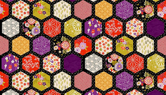 Hexagon Patch on Black   Kimono Collection   Makower UK